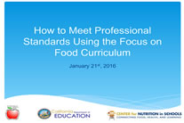 Pro standards focus on food.