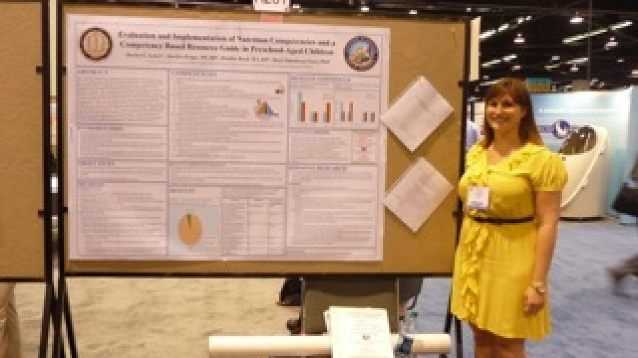 CNS researcher Rachel Scherr with her poster at Experimental Biology 2010
