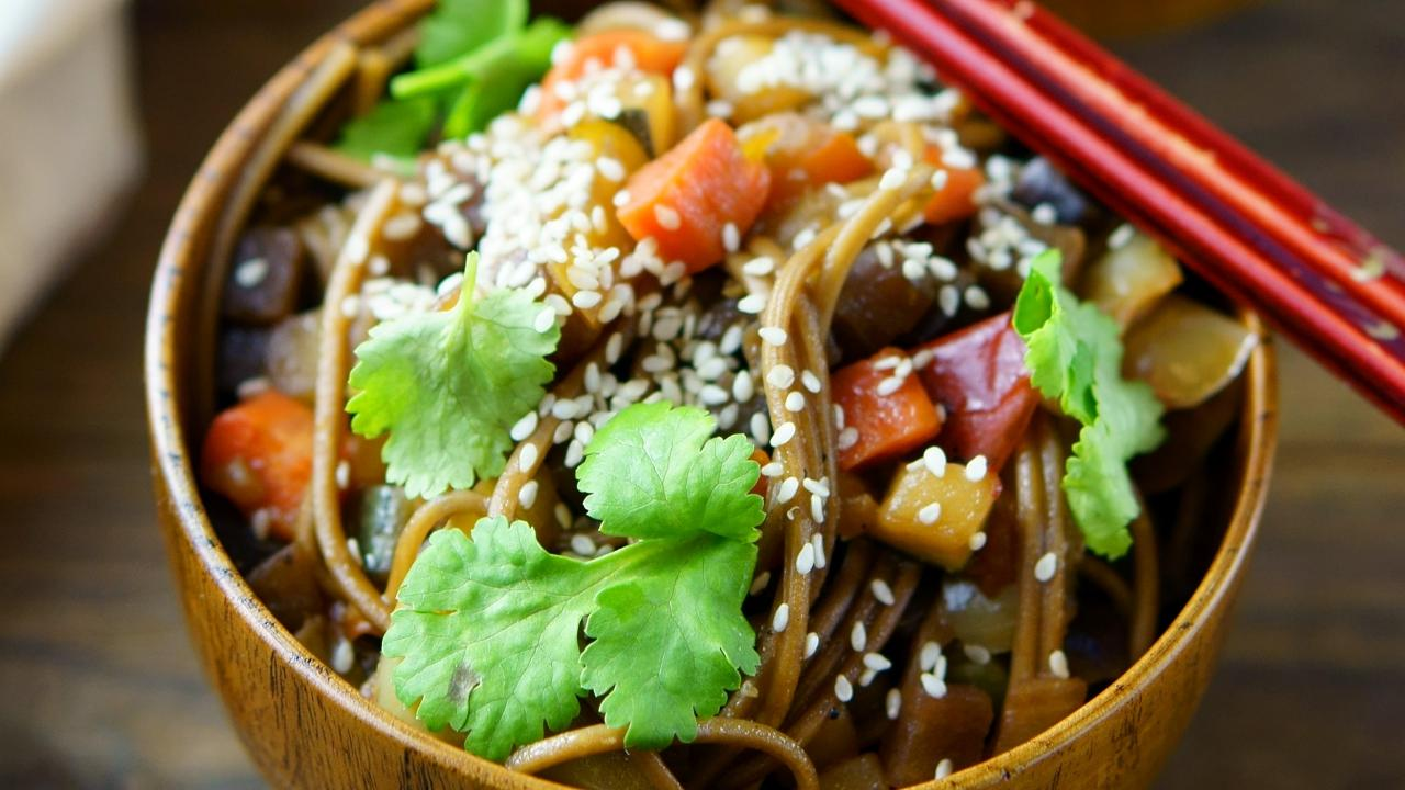 Close up of noodle dish