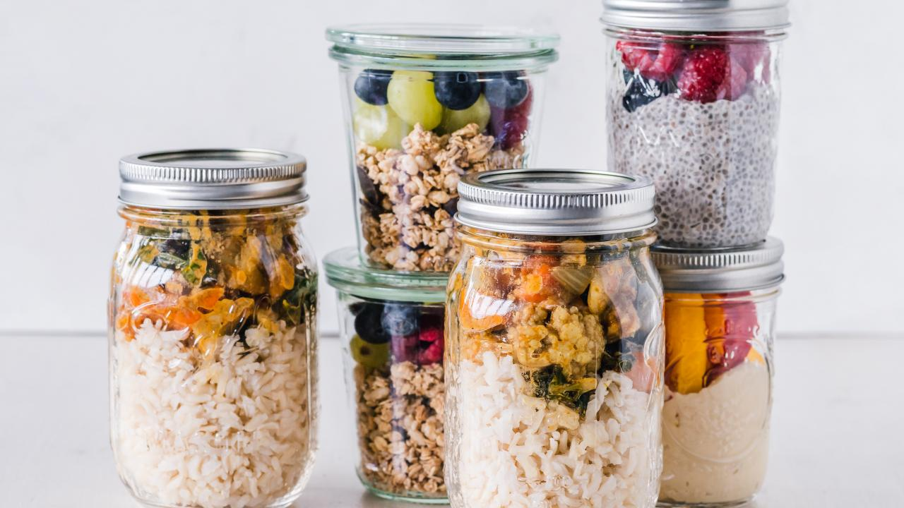 packed meals in jars